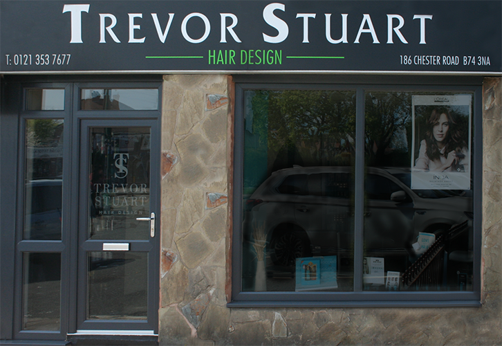 Outside Trevor Stuarts hairdressing salon in Streetly