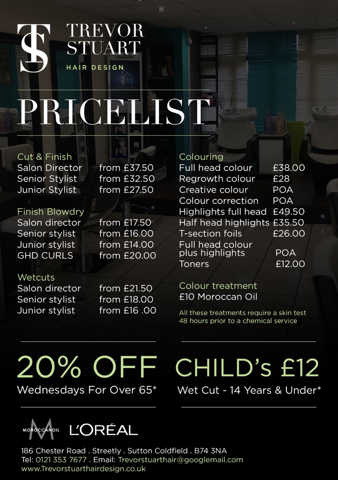 Trevor Stuart Hairdressing Price List